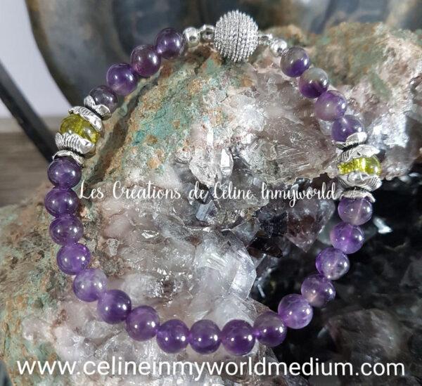 Bracelet en Améthyste claire et Olivine (Péridot) avec fermoir aimanté