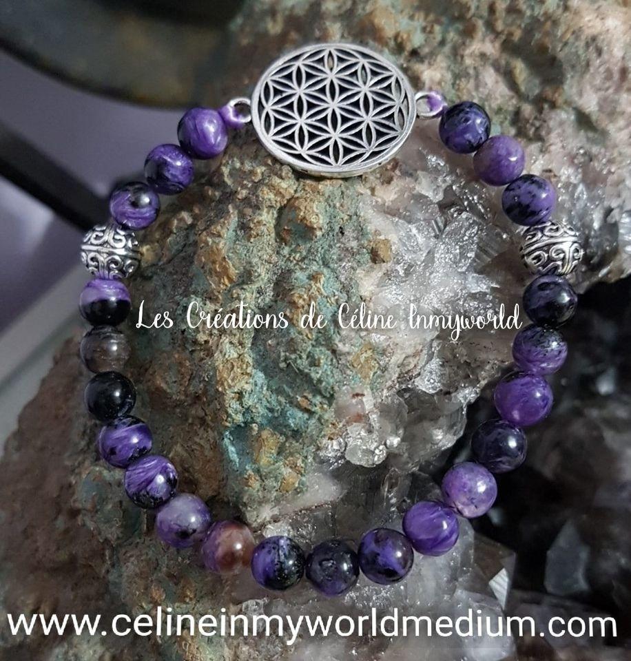 Bracelet en Charoïte avec fleur de vie