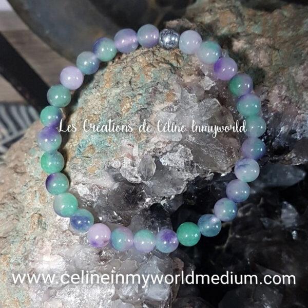 Bracelet en Fluorite Multicolore et perle d'hématite argent