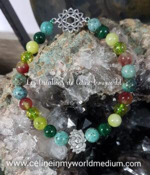 Bracelet pour chakra du cœur avec fleur de lotus