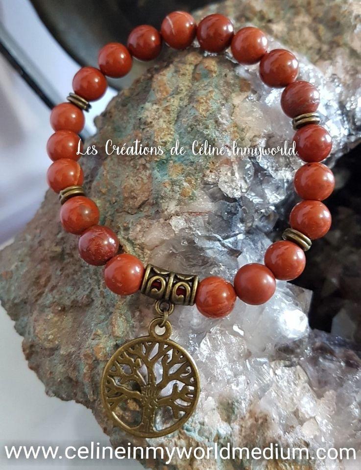 Bracelet pour l'ancrage en Jaspe rouge avec arbre de vie