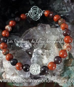 Bracelet pour l'ancrage (chakra racine et arbre de vie) en jaspe rouge
