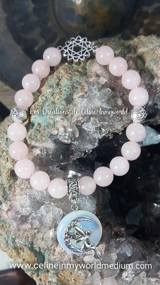 Bracelet pour le chakra du coeur en quartz rose