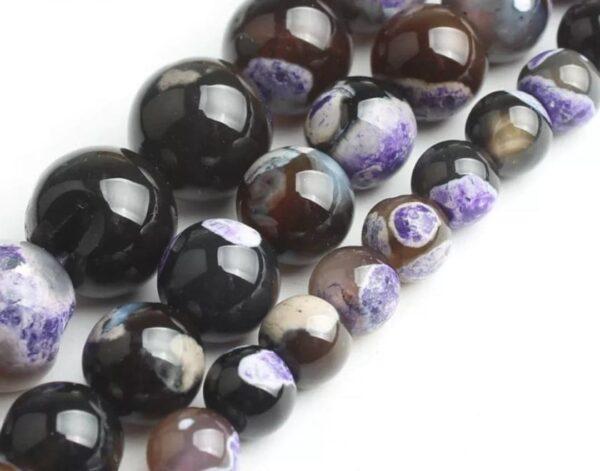 Agate à Signature d'Estomac (noire et violette)