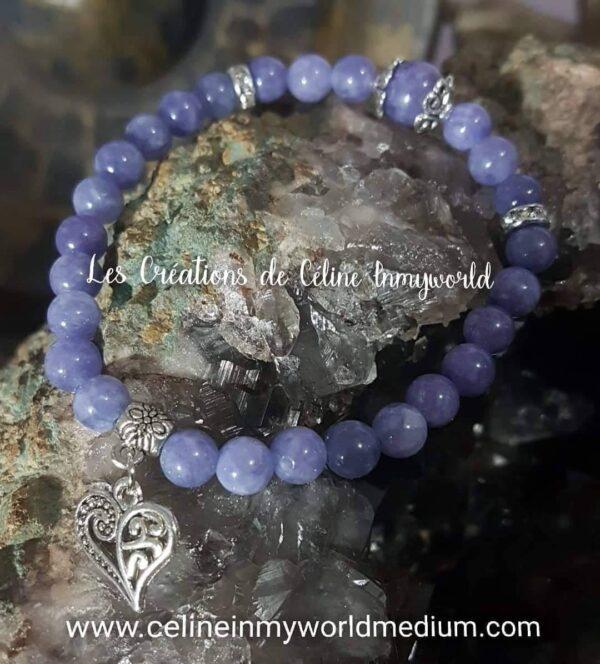 Bracelet en Angélite violette (Anhydrite) avec pendentif coeur