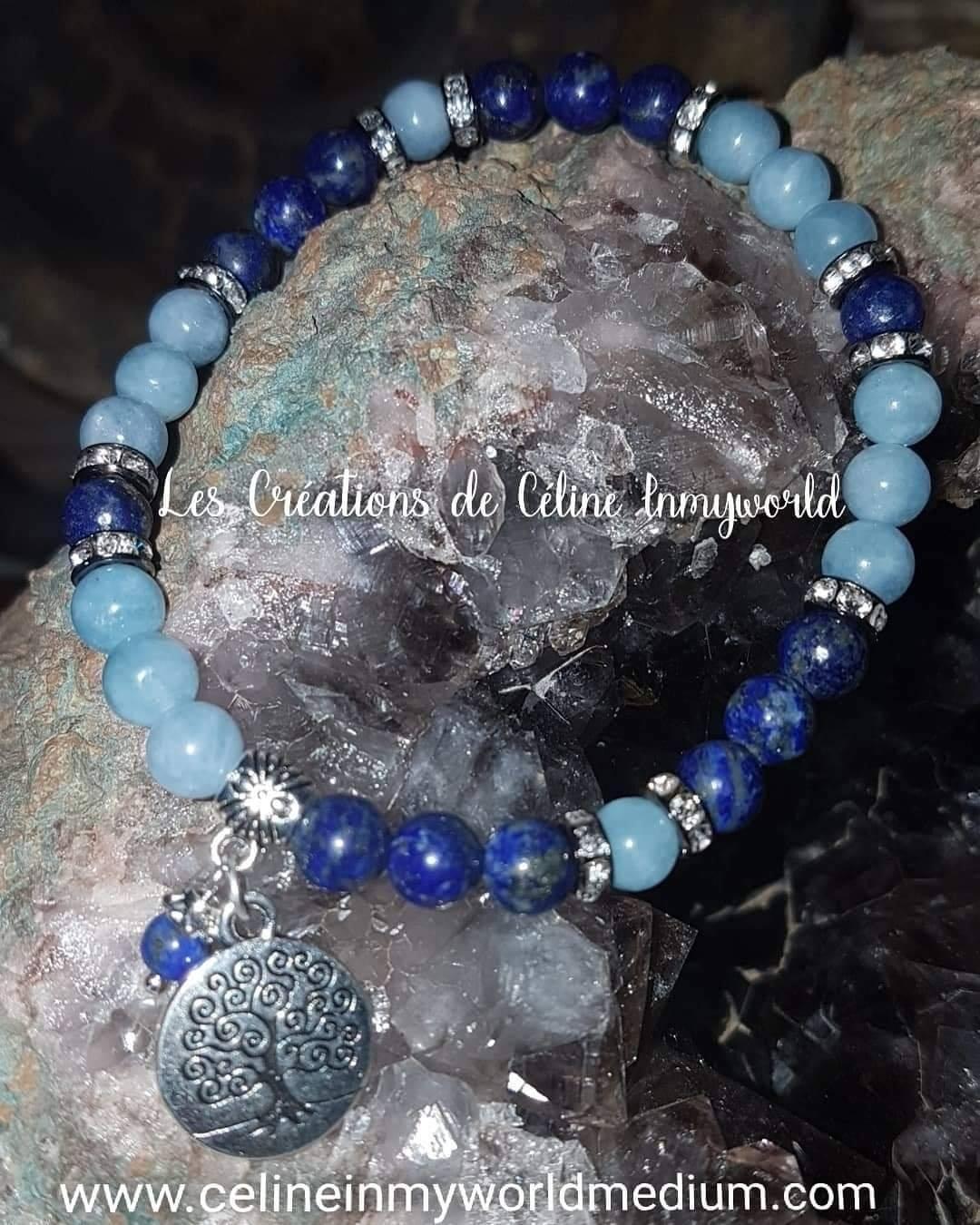 Bracelet en Lapis-Lazulis et Aigue-Marine avec Arbre de vie