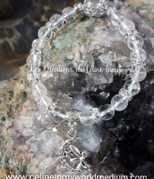 Bracelet en Cristal de Roche avec Lune et Fée