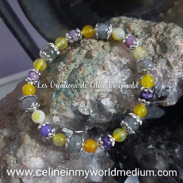 Bracelet en Labradorite - Agate rubanée orange et Charoïte