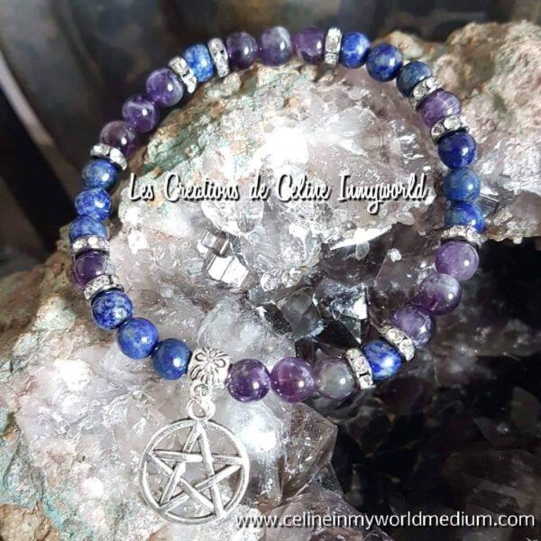 Bracelet en Lapis-Lazulis et Améthyste avec pentacle
