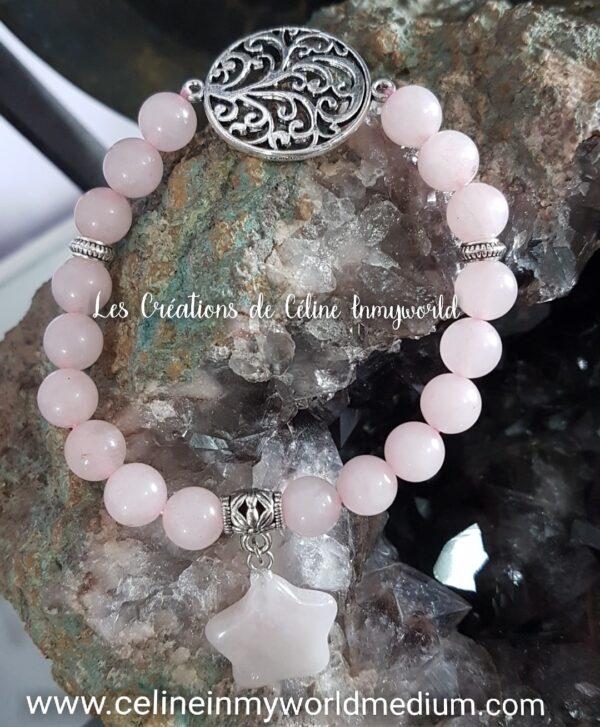 Bracelet en quartz rose