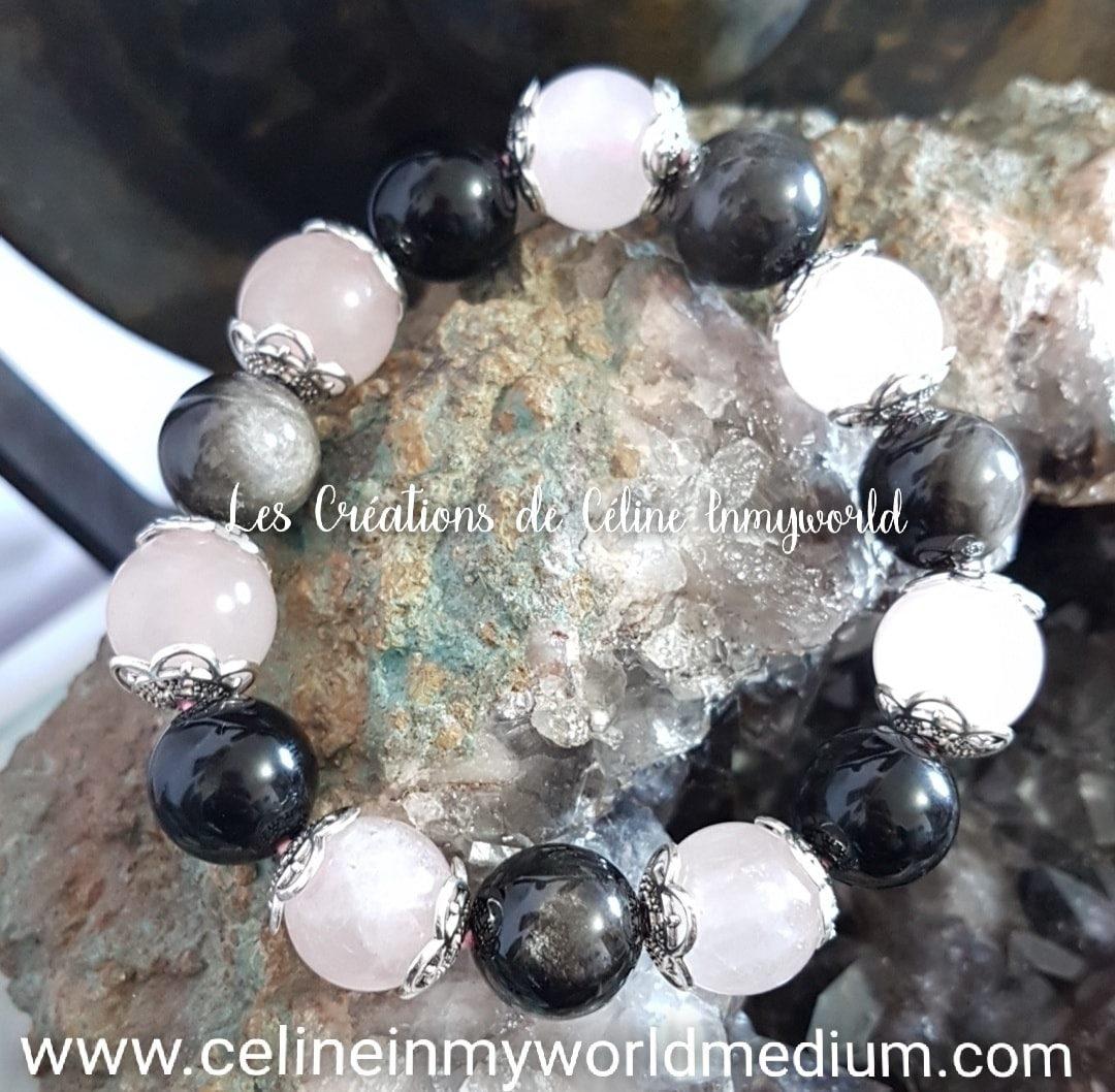 Bracelet en Quartz rose - Obsidienne argentée et Obsidienne arc-en-ciel
