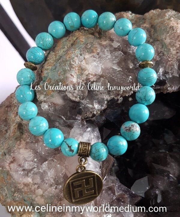 Bracelet en Turquoise avec symbole Svastika