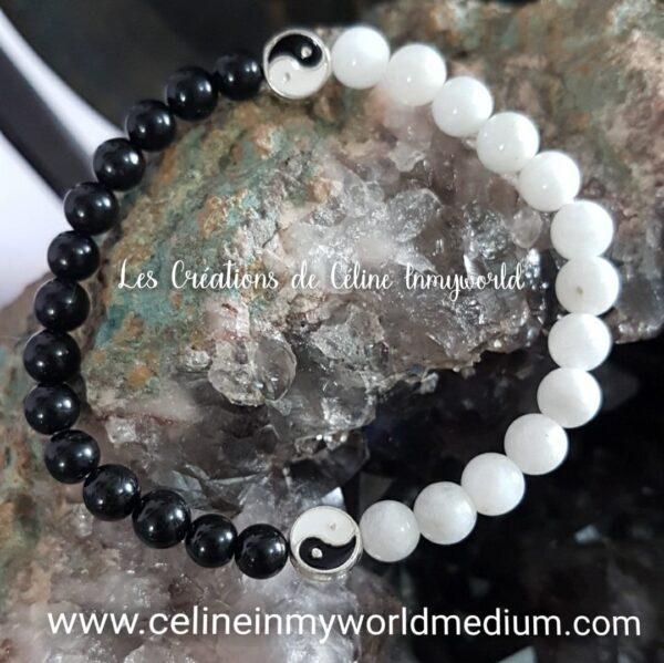 Bracelet Yin & Yang en Shungite et Pierre de Lune