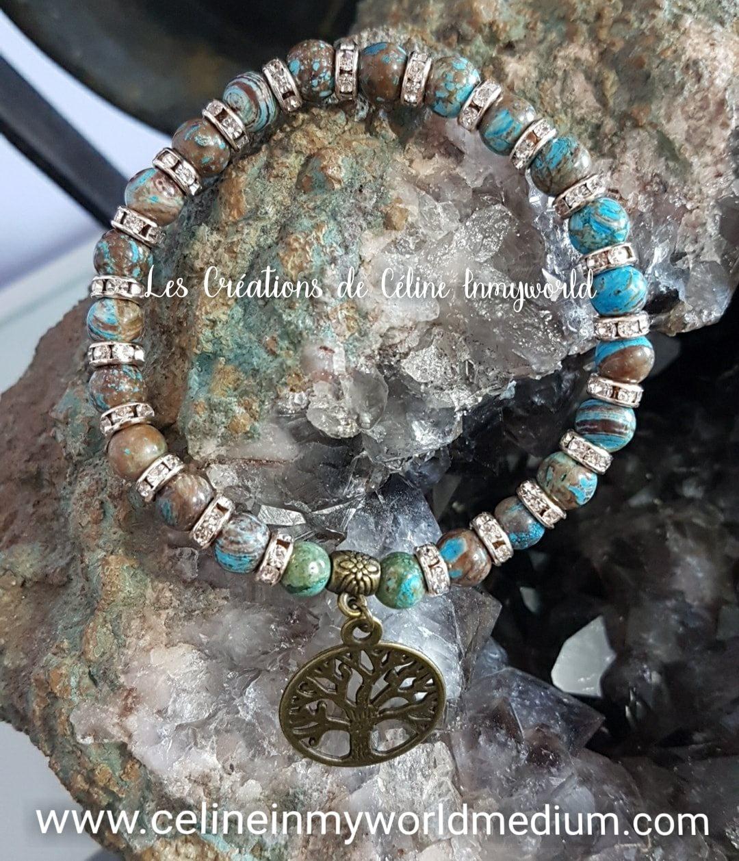 Bracelet en Jaspe Calsilica bleu avec arbre de vie