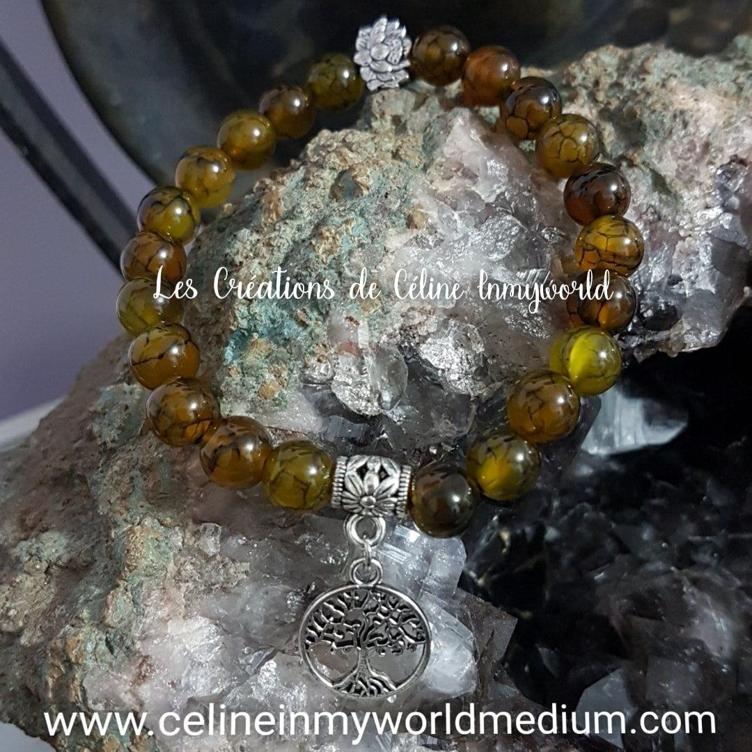 Bracelet en Agate veine de Dragon avec fleur de Lotus et Arbre de vie