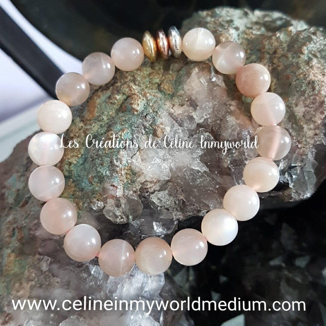 Bracelet en Héliolite (pierre de soleil naturelle) apaise les peurs et la dépression