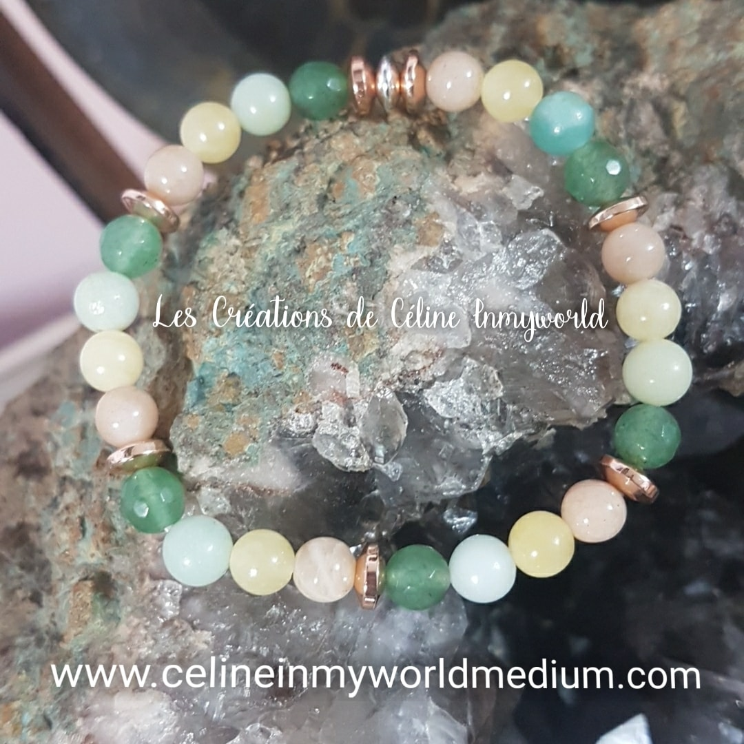 Bracelet pour apaiser les peurs et la dépression, aide pour la confiance en soi. En Jade jaune, Jade vert, Héliolite, Amazonite bleue et perles d'Hématite plaquées couleur argent et or rose.