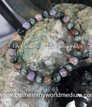 Bracelet en Jaspe calsilica violet et Chrysobéryl oeil de chat