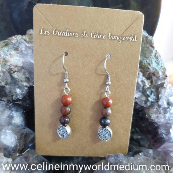 Boucles d'oreilles pour l'ancrage (chakra racine et arbre de vie) en jaspe rouge