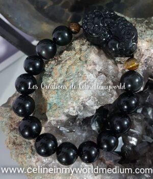 Bracelet Pixiu pour la protection et l'abondance, en Obsidienne arc-en-ciel et oeil-de-tigre