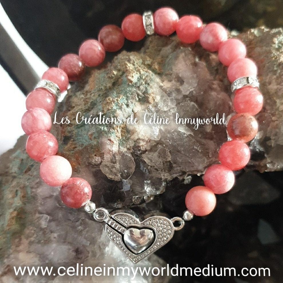 Bracelet Saint Valentin pour le chakra du coeur en Rhodocrosite avec fermoir magnétique