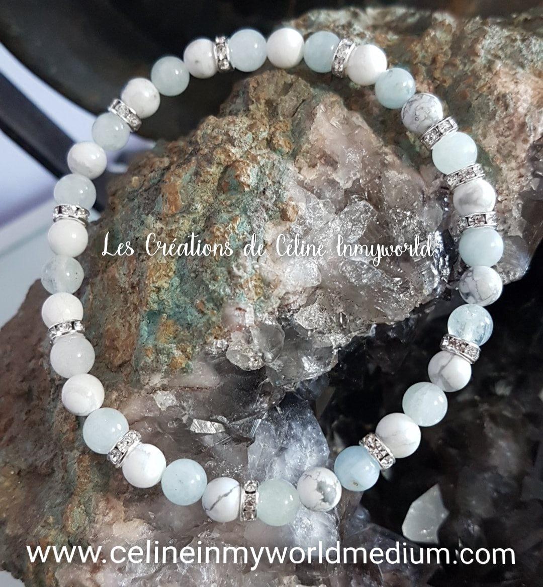 Bracelet anti-stress en Magnésite et Morganite bleue