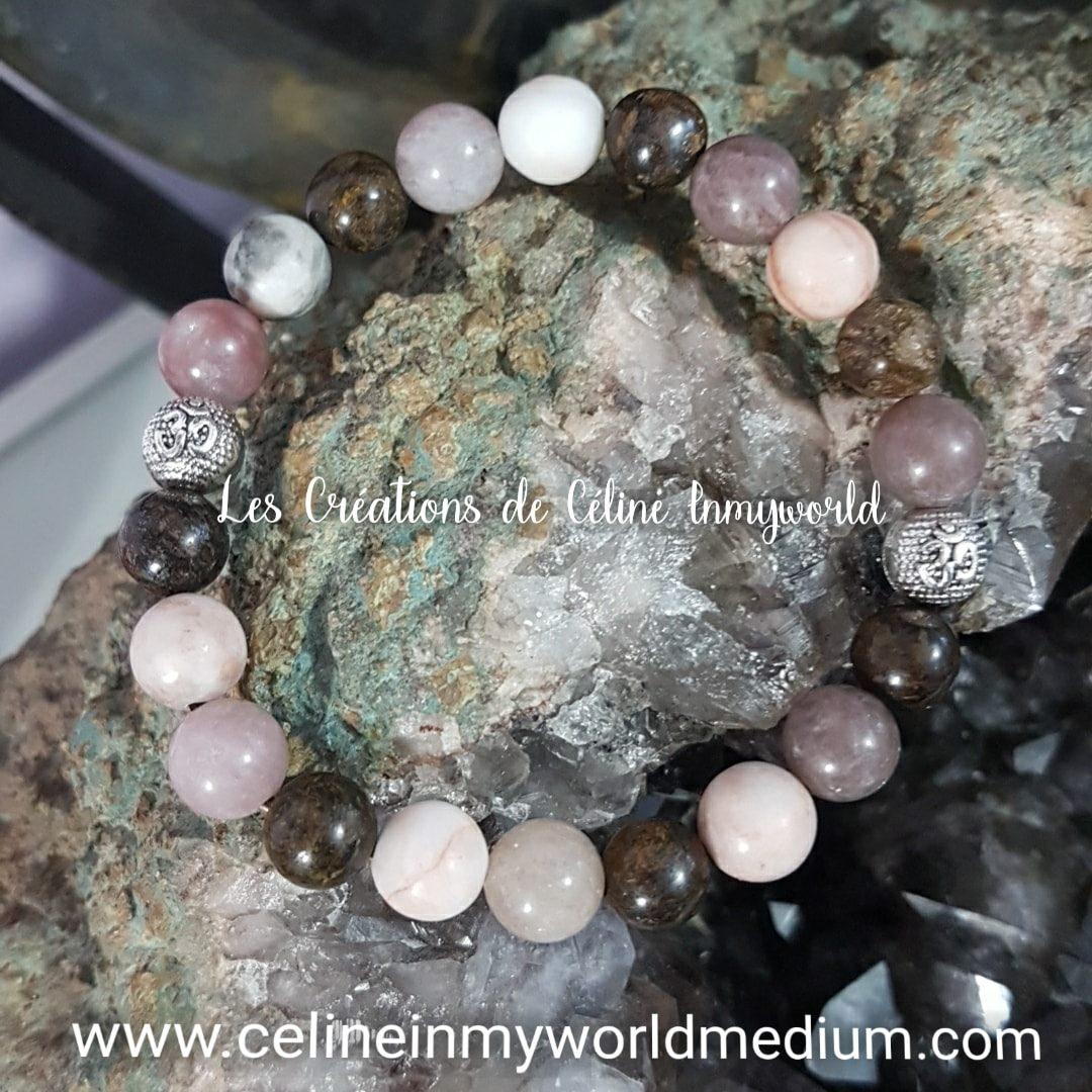 Bracelet anti-stress pour la sérénité intérieure, en Lépidolite, Bronzite et Jaspe brun-beige avec symbole Aum.