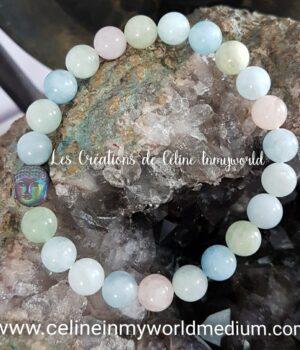 Bracelet anti-stress en Morganite avec Bouddha