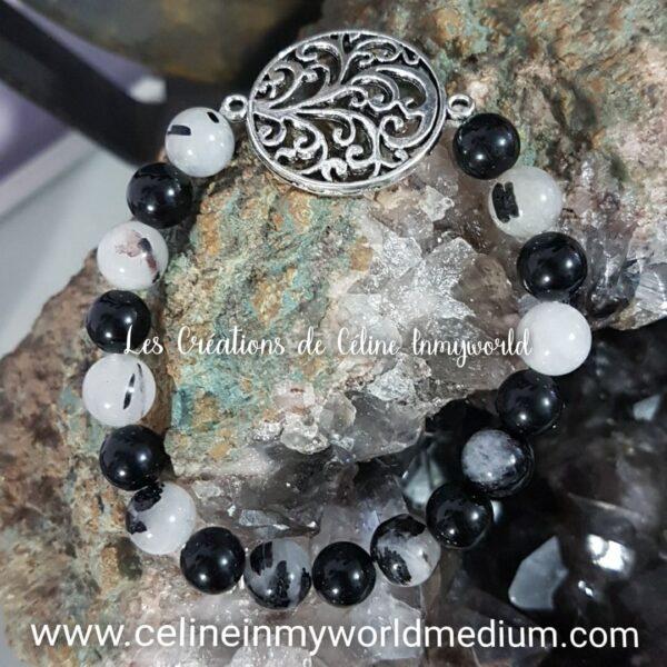 Bracelet d'ancrage et d'alignement des chakras, en Tourmaline noire et Quartz-tourmaline