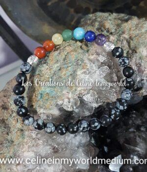 Bracelet d'ancrage et de protection avec les 7 chakras, en obsidienne flocons de neige