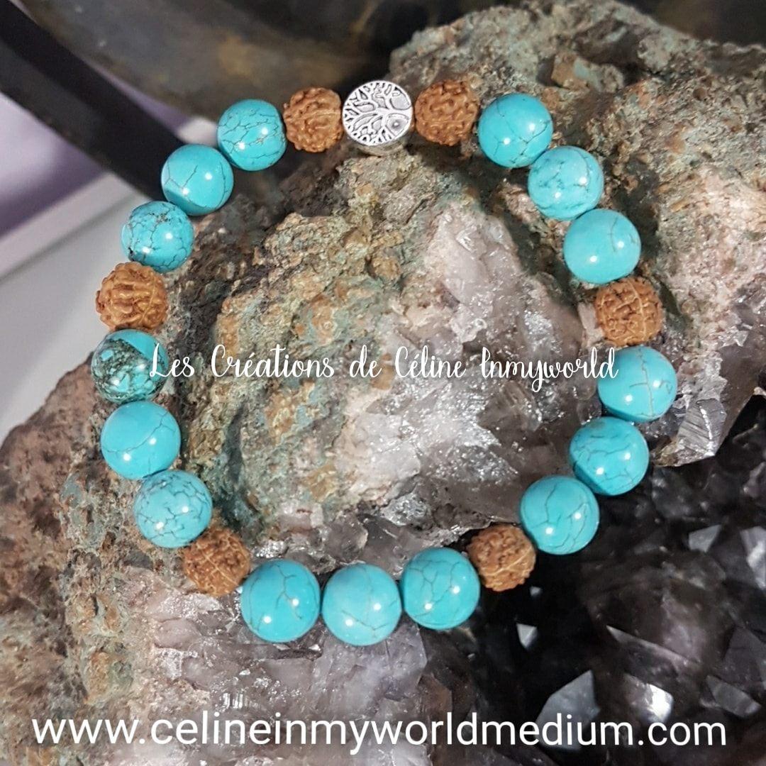 Bracelet de protection en Turquoise et Graines de Rudraksha avec Arbre de vie