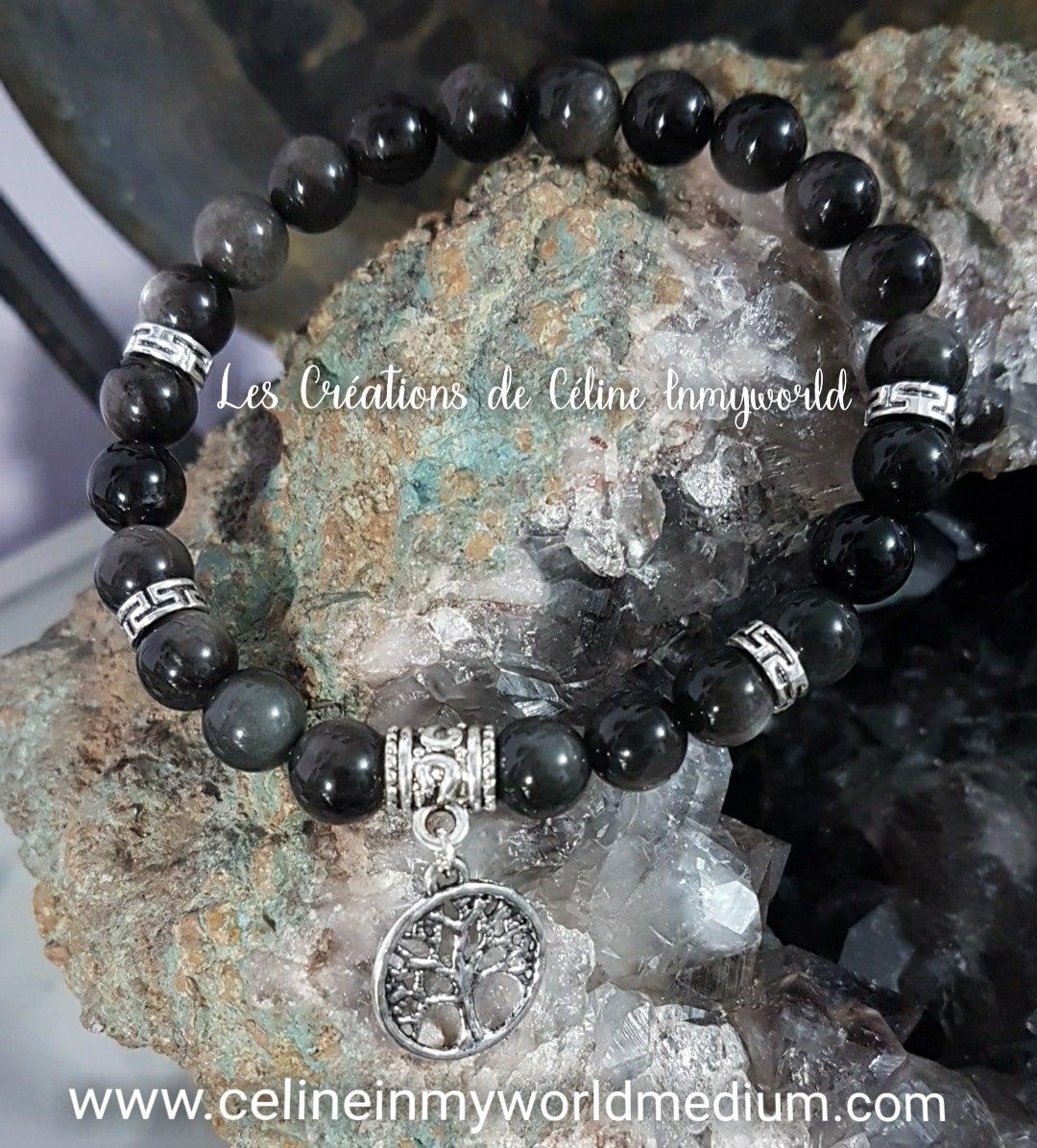 Bracelet de protection et d'ancrage en Obsidienne argentée avec arbre de vie