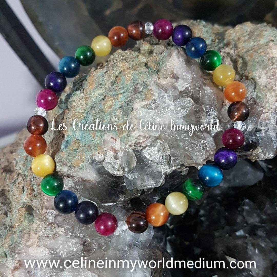 Bracelet des 7 chakras en Oeil-de-tigre (multi-couleurs)
