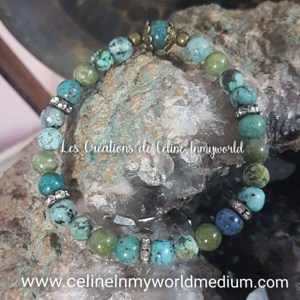 Bracelet pour équilibrer l'humeur, en Chrysocolle, Calcédoine cuprifère, Turquoise africaine et Jade