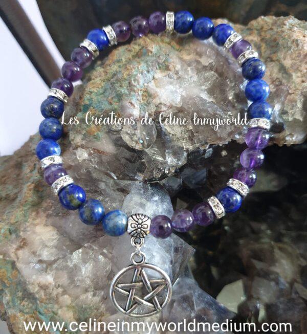 Bracelet seul en Lapis-lazuli et Améthyste avec pentacle de protection