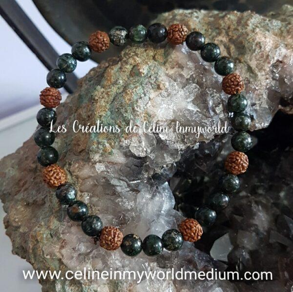 Bracelet en Séraphinite et en graines de Rudraksha