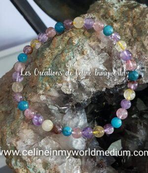 Bracelet en Topaze, Apatite bleue et Améthyste avec inclusions de Goethite