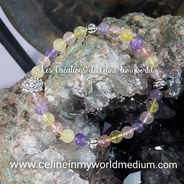 Bracelet en Topaze avec fleur de Lotus