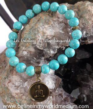 Bracelet seul de protection en Turquoise avec pendentif Bouddha