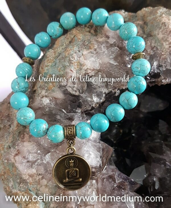 Bracelet de protection en Turquoise avec pendentif Bouddha
