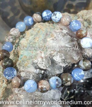 Bracelet en Vulcanite et Agate à signature d'inflammation