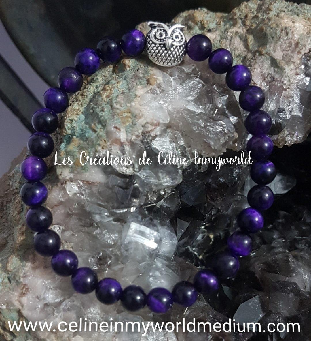 Bracelet en œil de tigre teinté violet