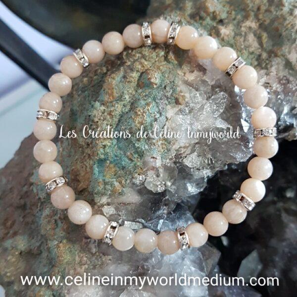 Bracelet pour atténuer l'état dépressif, pour l'optimisme, en Héliolite, pierre de soleil naturelle