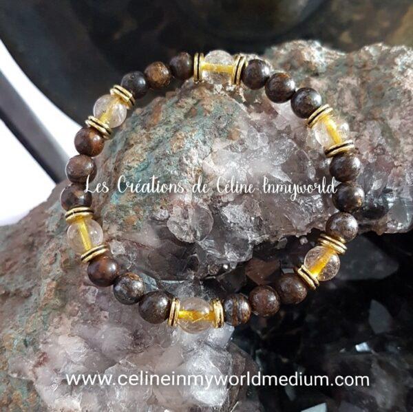 Bracelet pour se libérer des angoisses et du stress en bronzite et quartz-rutile jaune