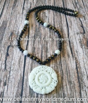 Collier de protection et d'abondance en Jade, Shungite, Obsidienne arc-en-ciel et mantras