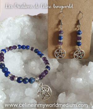 Parure bracelet et boucles d'oreilles en Lapis-lazuli et Améthyste avec pentacle de protection