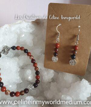 Parure bracelet et boucles-d'oreilles pour l'ancrage (chakra racine et arbre de vie) en jaspe rouge
