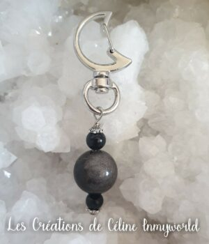 Pendentif de protection pour chien en Obsidienne argentée et Tourmaline noire
