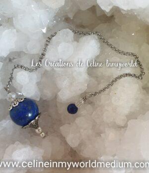 Pendule de radiesthésie confectionné sur-mesure (Modèle unique) en Lapis-lazuli