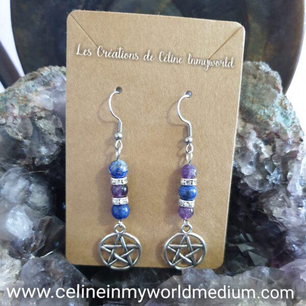 Boucles d'oreilles seules en Lapis-lazuli et Améthyste avec pentacle de protection